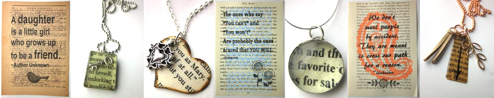 book art, book page prints, literary jewelry